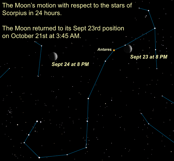 Motion of Moon in 24 hours